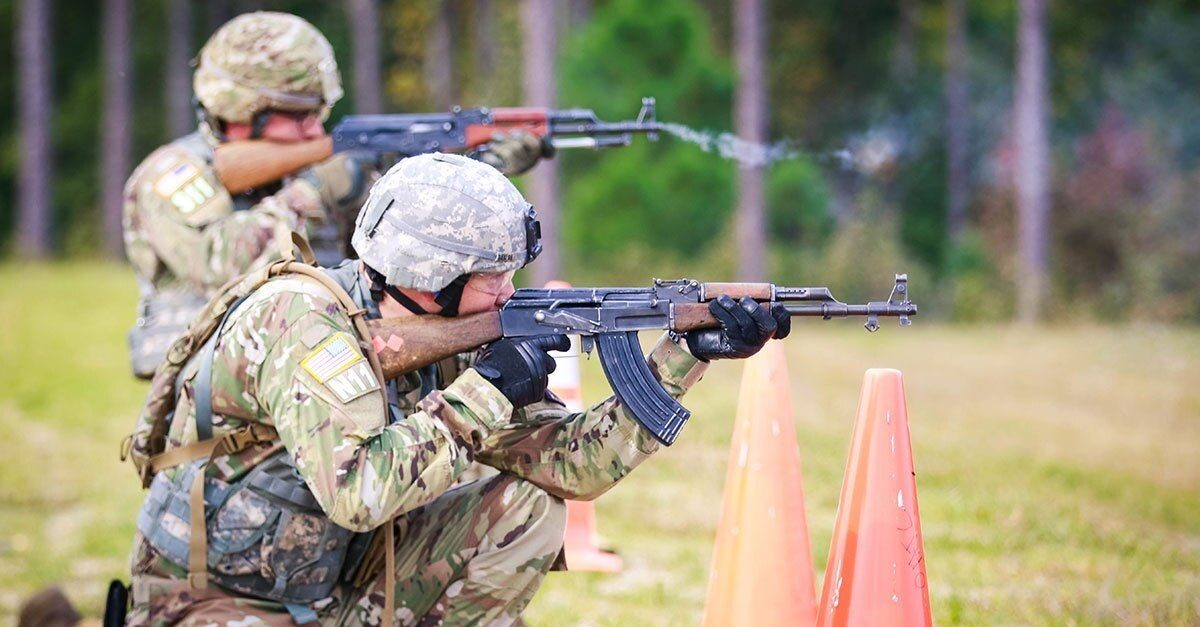 Us soldier with AK rifle